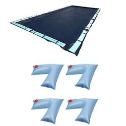 Swimline 18x36 Ft Winter Pool Cover + 4-pack Of Corner Water Tube Cover Weights