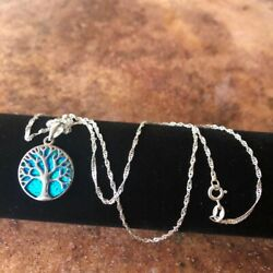 925 Sterling Silver Lap Opal Tree-of-life Elegant Protection Pendant 20