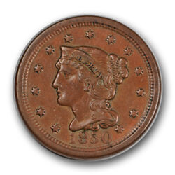 1850 1c Braided Hair Large Cent Double Struck Mint Error About Uncirculated R967