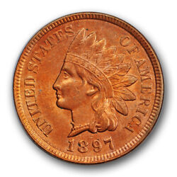 1897 1c Indian Head Cent 1 In Neck Variety Uncirculated Cleaned Coin R128