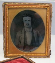 Known Civil War Union Soldier Sergeant Bf Hobart Ambrotype Glass Photograph