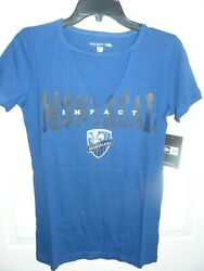 New Womenand039s Sexy Deep V-neck Cut Out Montreal Impact T-shirt Chose Size New Era