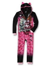 Monster High Pajamas Girl Size 8 10-12 One Piece Blanket Sleeper Union Suit New