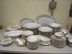 Noritake Lasalle 5142 Gray/ Brown Flowers And Leaves, Smooth Euc 92 Pcs