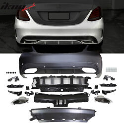 Fits 15-18 Benz C-class W205 Amg Style Rear Bumper With Diffuser Muffler Tip -pp