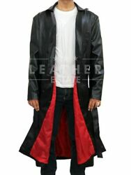 Mans Celebrity Wesley Snipes Blade Trinity Leather Long Trench Coat - Xxs-3xl