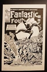 Fantastic Four 52 Original Cover Recreation By Mike Decarlo. Exact Jack Kirby