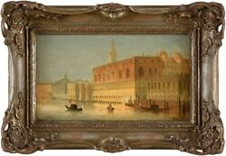 Old Painting Oil/ Wood Signed Siegen August Oil Painting Venezia