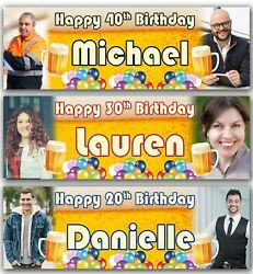 2 Personalised Birthday Banner Photo Beer Balloon Adult Fun Party Poster Supply