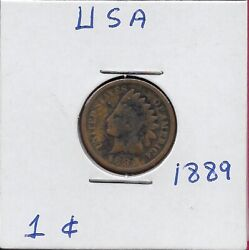 Usa Indian Head Cent 1889 Xf Indian Head Left,wreath Surrounds Value,shield