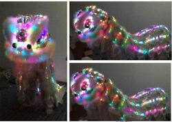 Lion Dance Mascot Costume Led Light Wool Southern Chinese Folk Art  Halloween
