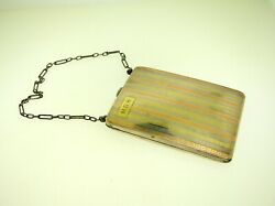Antique 14k Tri Colored Gold And Sterling Silver Miniature Purse Coin Comp. Mirror