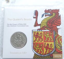 2018 Royal Mint Queens Beasts Red Dragon Of Wales Bu Andpound5 Five Pound Coin Pack