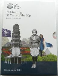 2019 British Culture 50p Fifty Pence 5 Coin Set Kew Gardens Uncirculated