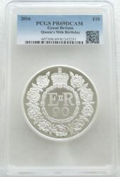 2016 Queens 90th Birthday Uk Andpound10 Ten Pound Silver Proof 5oz Coin Pcgs Pr69 Dcam