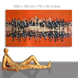 Abstract Paintings Modern Art Wall Hand Painted Canvas Decor Orange 78 X 40
