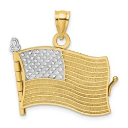 14k Yellow Gold And Rhodium 3-d Pledge Of Allegiance Flag Book Moveable Pendant