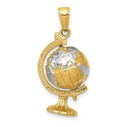 Mens 14k Yellow Gold And Rhodium 3-d Moveable Globe Pendant