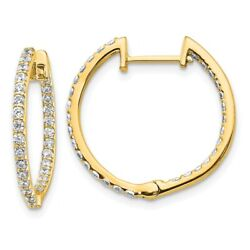 14k Yellow Gold Diamond In And Out Hinged Hoop Earrings Em5425-075-ya