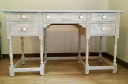 Stunning Antique Victorian Desk Macey And Fowler, Ny In Stylish Distressed Look