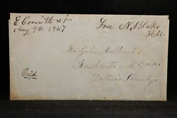 Vermont East Corinth 1847 Stampless Cover, Ms, Postmaster Free To Rushville, Ny