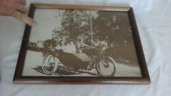 Antique Original Print Of Excelsior Henderson W/sidecar Motorcycle.