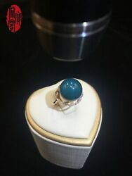 Mexican Blue Amber Ring K Gold Rose Ring 13mm Bead