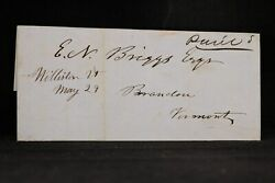 Vermont Williston 1849 Stampless Cover, Ms To Brandon, Vt