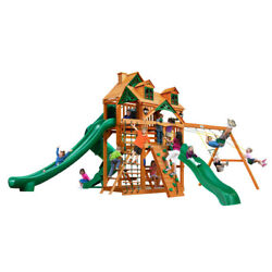 Wooden Swing Set Malibu Roof Kids 3 Slides Gorilla Playsets Great Skye II