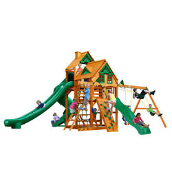 Wooden Swing Set Gorilla Playsets Great Skye II Treehouse 2 Belts 3 Slide