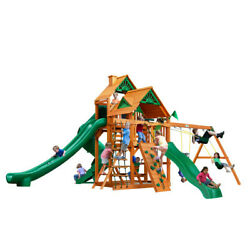 Wooden Swing Set Gorilla Playsets Great Skye II Kids 3 Slide 2 Wood Roofs