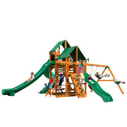 Wooden Swing Set Gorilla Playsets Great Skye II 2 Sunbrella Canopies