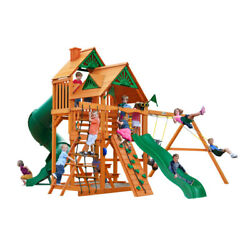 Wooden Swing Set Gorilla Playsets Great Skye I Kids 2 Slides Rope Ladder