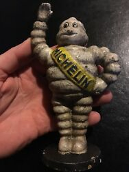 Michelin Man Piggy Bank Cast Iron Patina Solid Metal 6+ In. Tall 1lb+ Amoco Ex