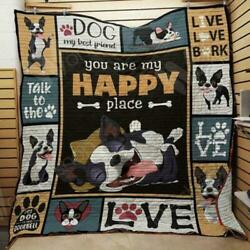 Boston Terrier Dog You Are My Happy Place Fleece Blanket 50x60x80 Made In US
