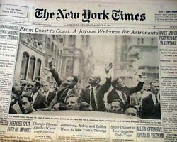 Man Walks On The Moon Neil Armstrong Apollo 11 Ticker Tape Parade 1969 Newspaper