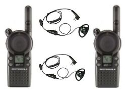 Motorola CLS1410 Two-Way Radio with HKLN4599 D-Ring PTT Headsets ONE PAIR