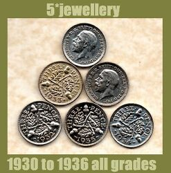 50 Silver 3d Pence Coins George 5th 1930 1931 1932 1933 1934 - 1937 Good To Unc