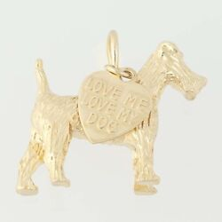 Terrier Dog Charm - 14k Gold Canine Pendant Textured Finish Love Heart Tag