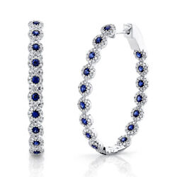 2.69ct 14k White Gold Natural Blue Sapphire Diamond Inside Out Oval Hoop Earring