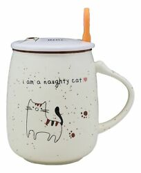 Naughty Calico Cat Porcelain Coffee Tea Mug Cup With Greeting Paw Spoon And Lid