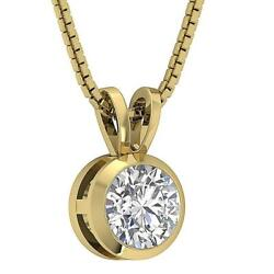 Solitaire Pendant Necklace Natural Diamond I1 G 1.00 Ct 14k Yellow Gold 8.40 Mm