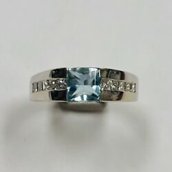 Bailey Banks And Biddle 18 K White Gold Fashion Ring With Topaz And Diamonds