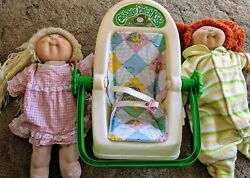1983 Cabbage Patch Kid Doll Baby Carrier Rocker With Padding Plus Two Baby Dolls