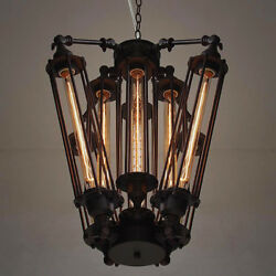 Industrial 8-Light Steampunk Chandelier Edison Bulb Flush Mounted Pendant Lamps