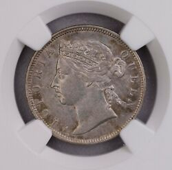 Ngc-au58 1886 Straits 20cents Silver Toned Key Date Only Three Finer