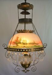 Beautiful Victorian Hanging Parlor Lamp/ Ceiling Chandelier W/ Dangling Crystals