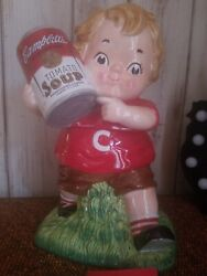 2005 Campbell's Soup Kid With Can Of Tomato Soup Ceramic Cookie Jar 12 Tall