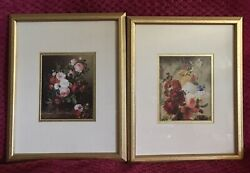 Victorian Flowers Floral Wall Pictures Gold Frame Set Of 2 Art Print 15 1/2 X 12