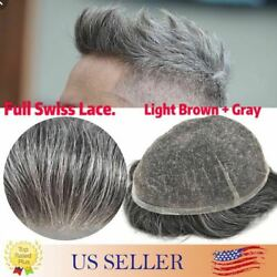 100human Hair Replacement Mens Toupee Hairpieces Full Swiss Lace Basement Wigs